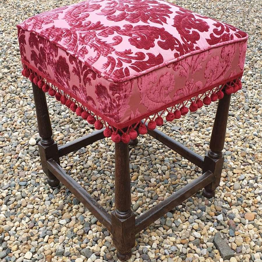 Late 17th century Upholstered Oak Stool