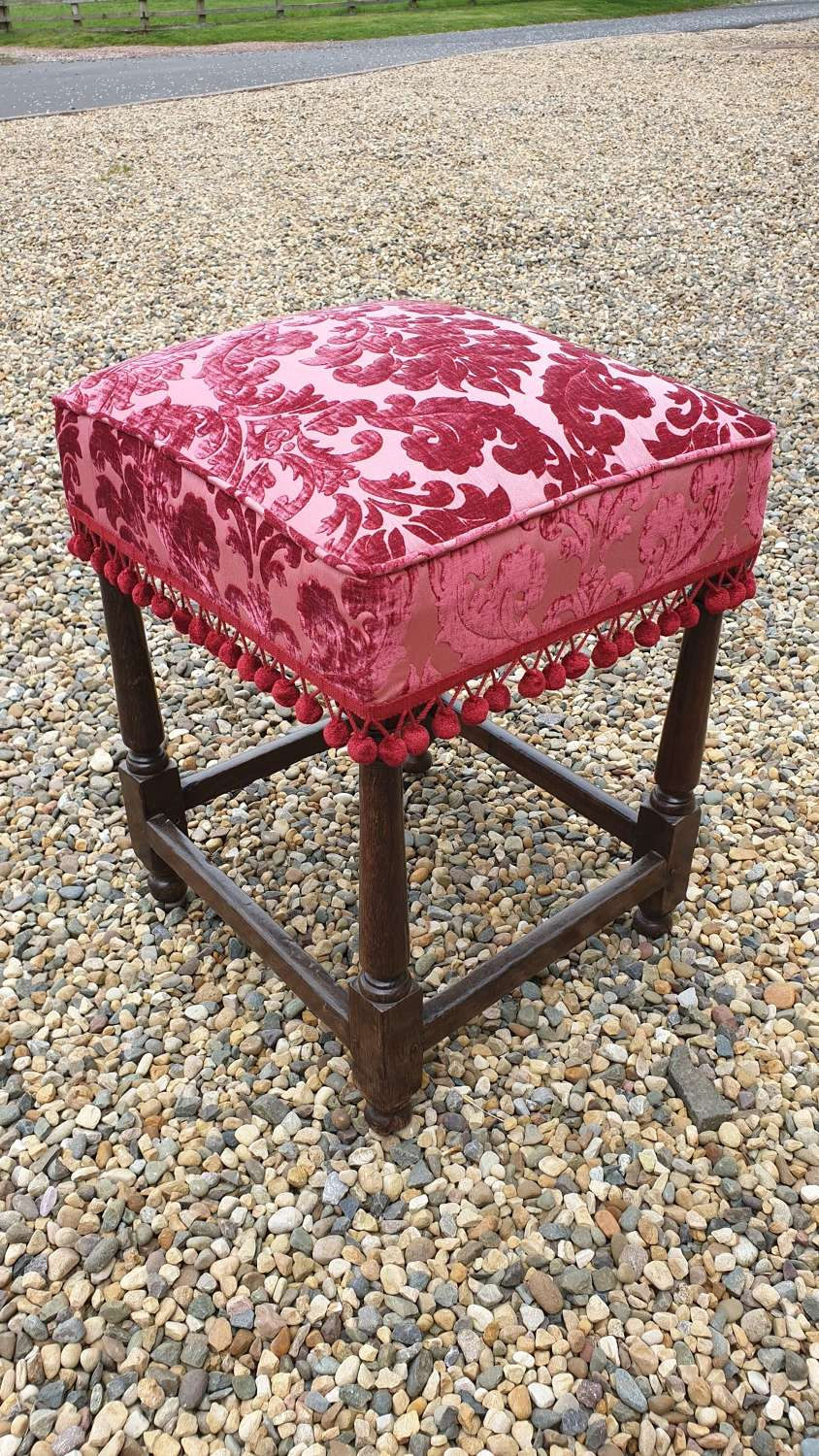 Late 17th century Upholstered Oak Stool