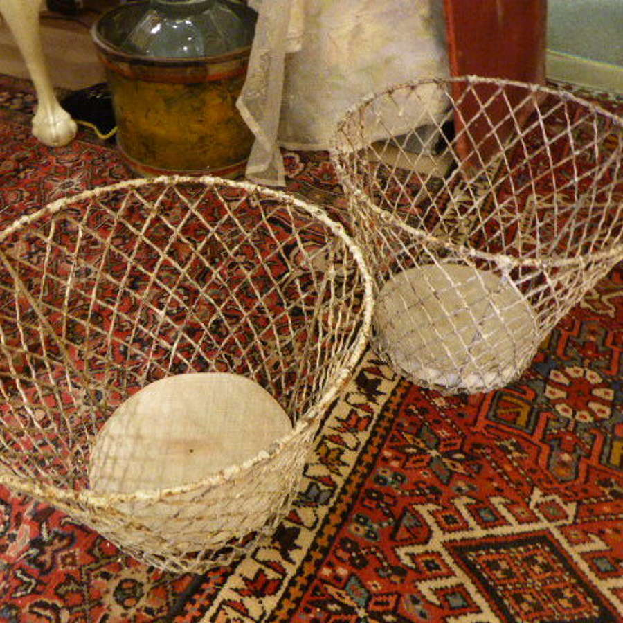 Victorian French painted wire baskets