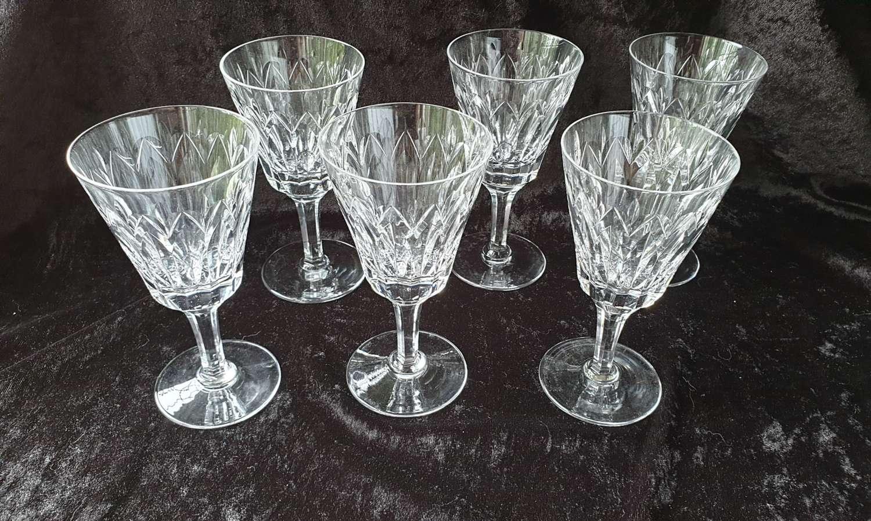 Set of Six Stuart Crystal Goblets