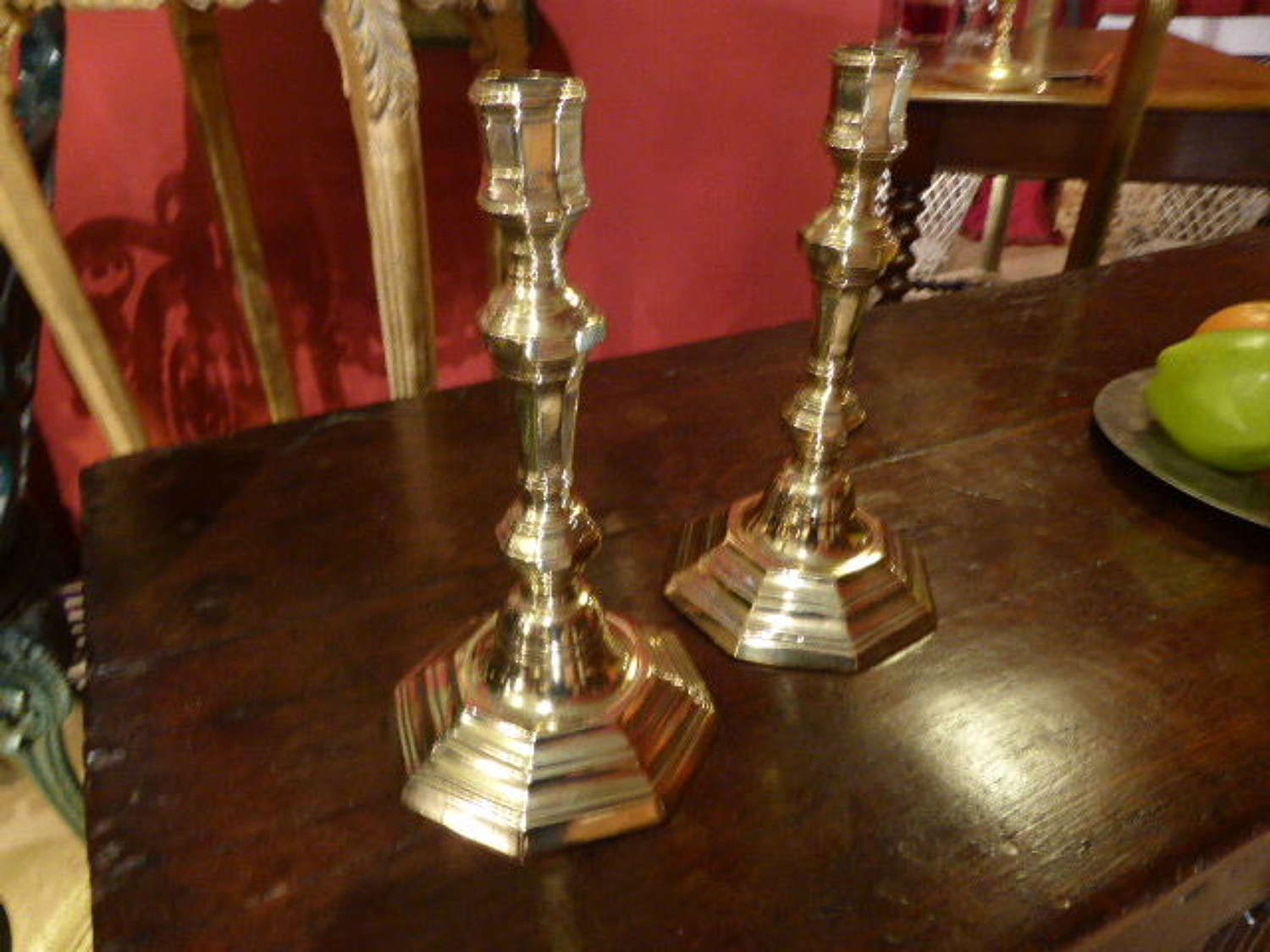 Pair of French Brass 18th Century Candlesticks