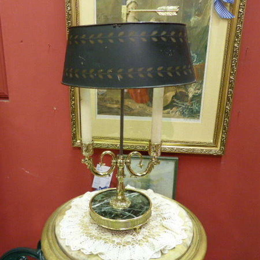 French Bouillotte Table Lamp with Marble Base c.1930