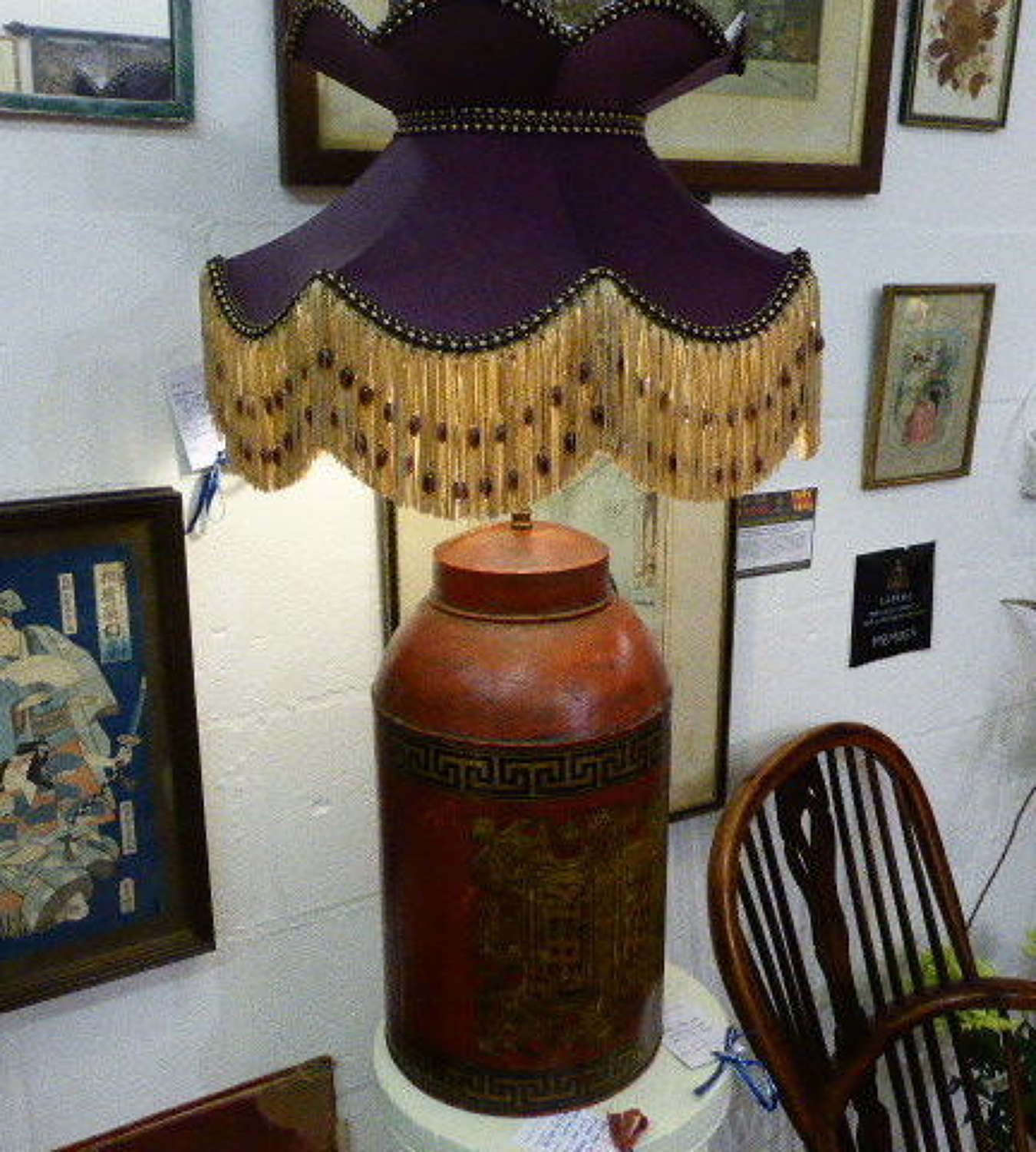 Early 20th c. Oriental Tea Can Table Lamp