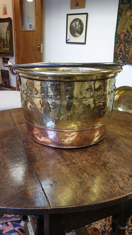 19th Century Brass and Copper Log Bin