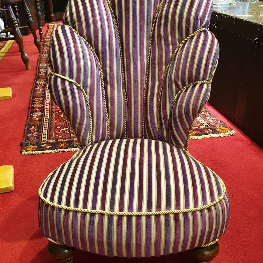 Unusual French 19th c. Upholstered Child's Chair