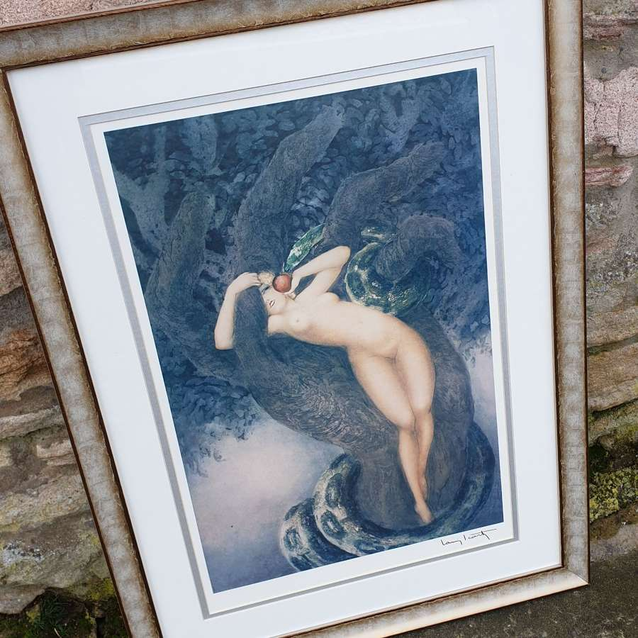 """A Louis Icart Print """"Eve"""" in Contemporary Frame"""