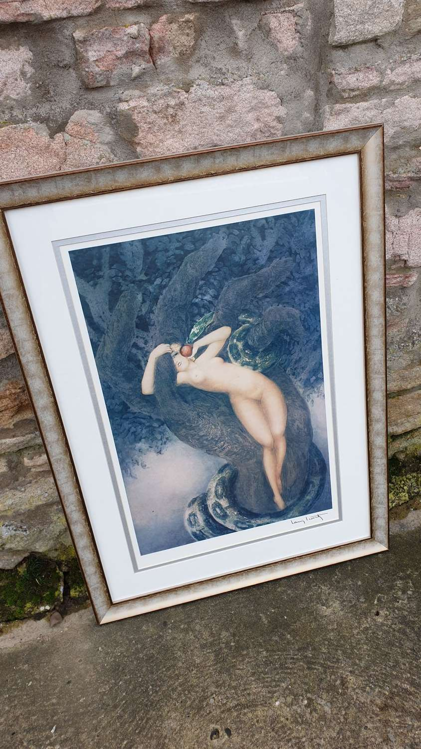 "A Louis Icart Print ""Eve"" in Contemporary Frame"