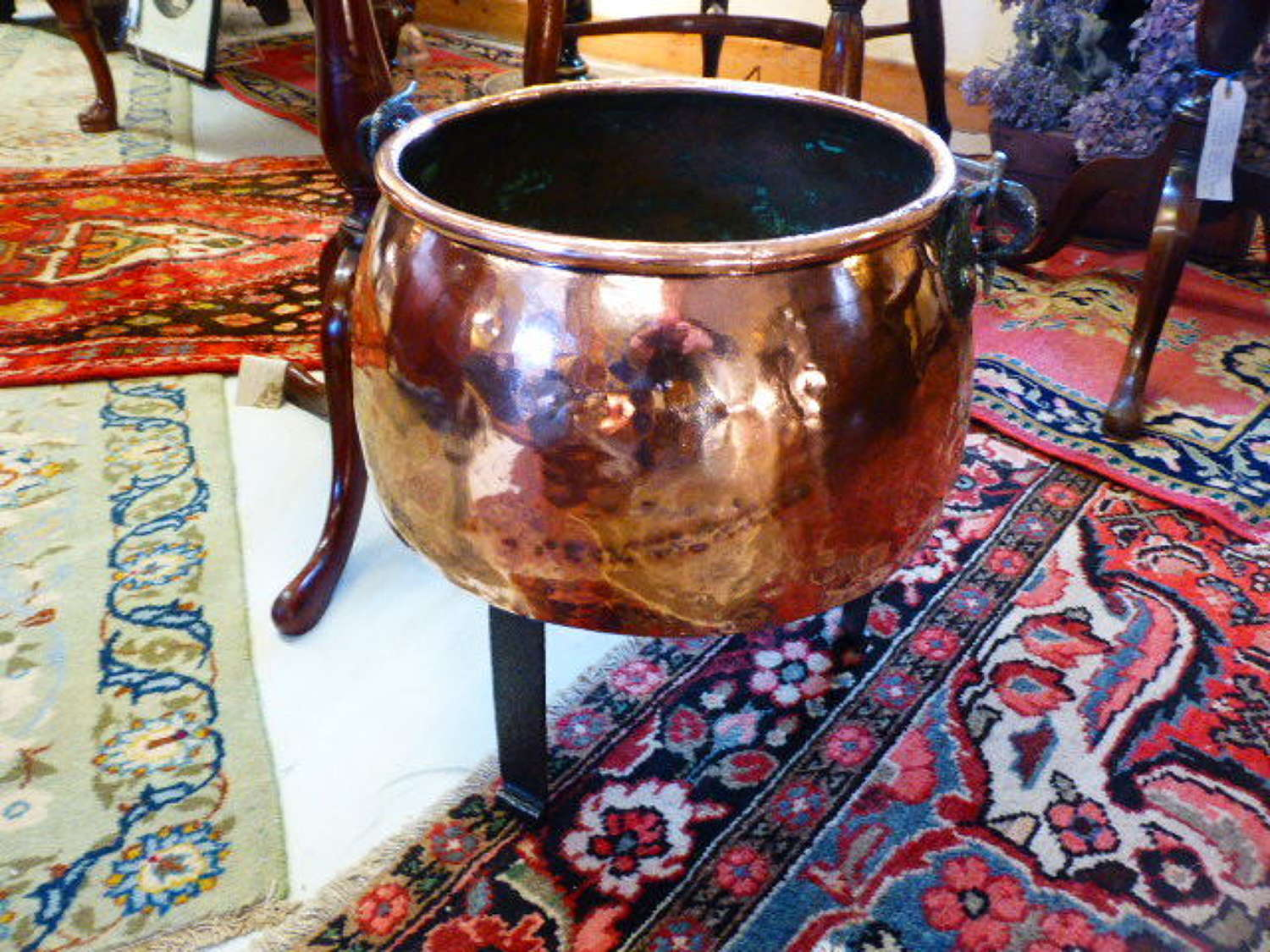 Victorian Copper Pot on Cast Iron Stand