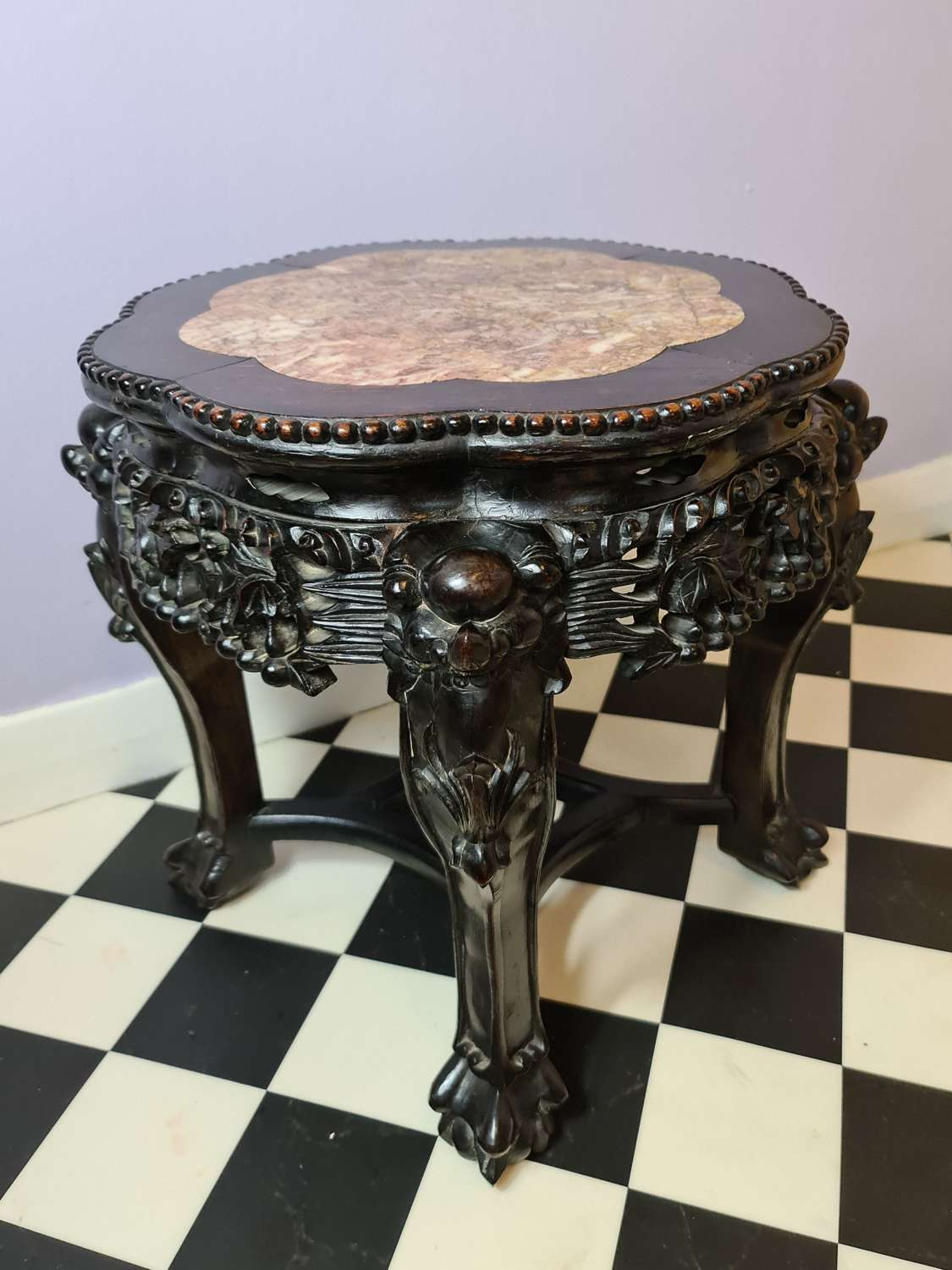 Quality Chinese Padouk Wood Jardiniere Stand c1890