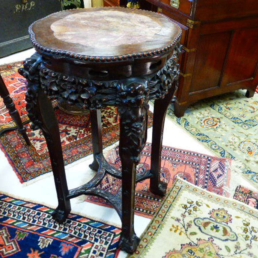 Large Size Carved Padouk Chinese Hardwood Stand. c. 1890