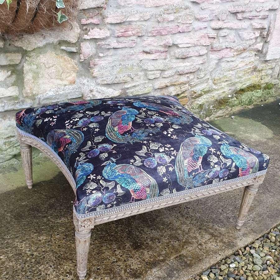 Large French Upholstered Lounge Stool c.1880