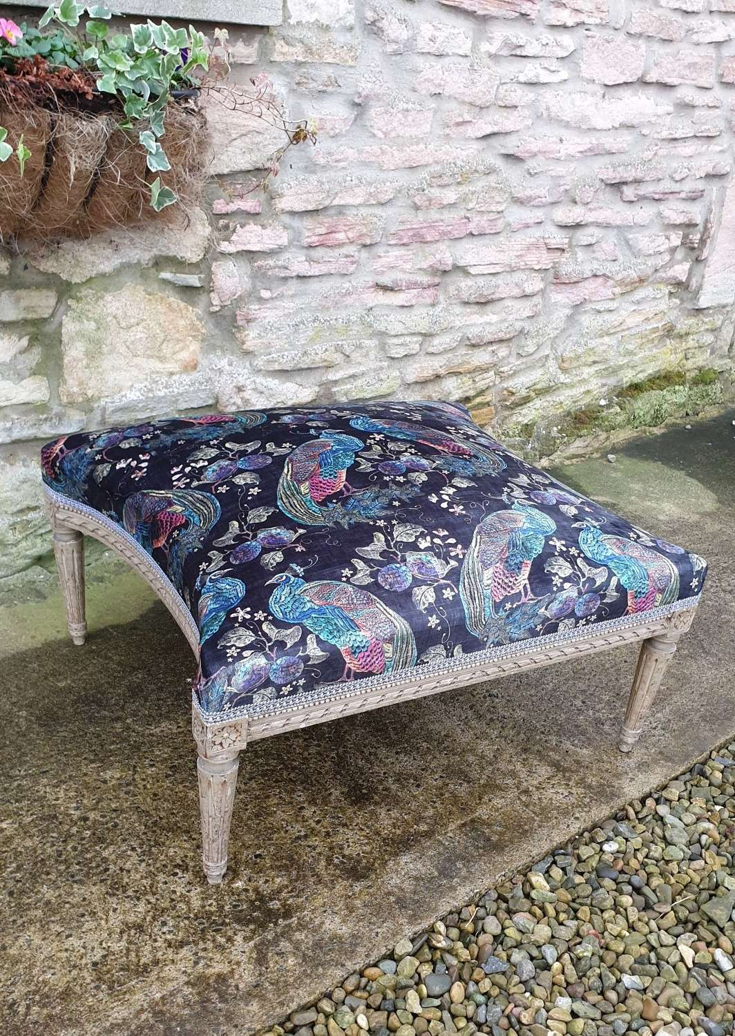 Large French Upholstered Lounge Stool c.1880