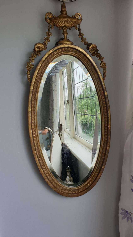 Useful Early 19th C. Wall Mirror in the Sheraton Style