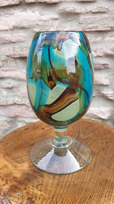 Hand blown 'Tiger' pattern Mdina large stemmed Vase