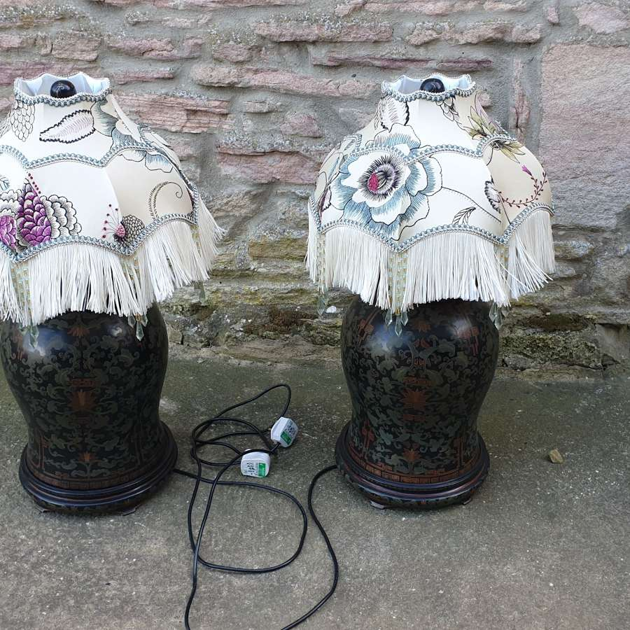 Stylish Pair of Large Table Lamps with Handmade Silk Shades