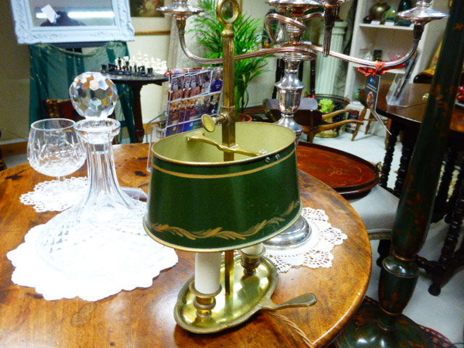Small early 20th century French Bouillotte Desk Lamp