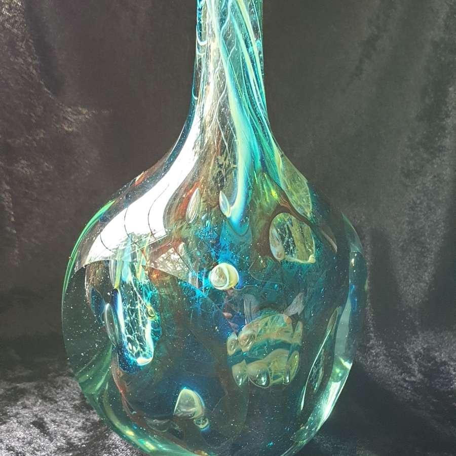 Square Cut Mdina Lollipop Vase with Joseph Said Signature 1978