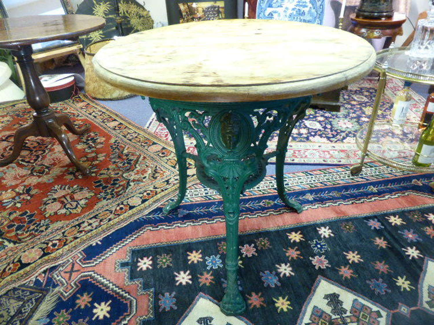 Victorian Cast Iron Pub Table with Wooden Top c.1896