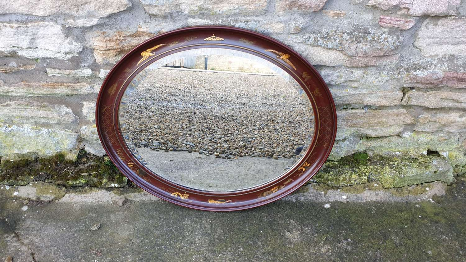 Red Oval Bevelled glass Mirror with Chinoiserie design