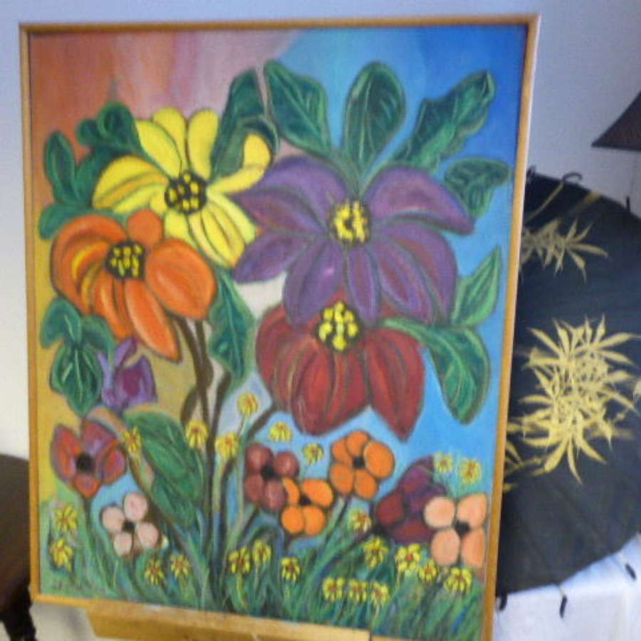 Oil on Canvas – A Vase of Flowers. signed J.Milton