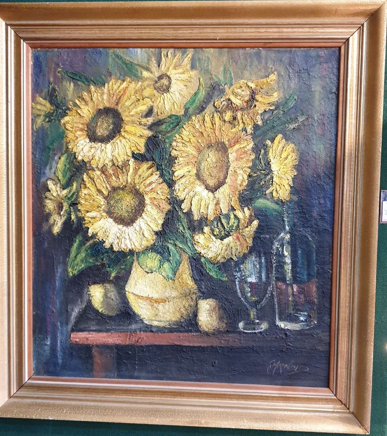 "Large Oil Painting ""Still Life"" on Canvas, signed C.Arnold"