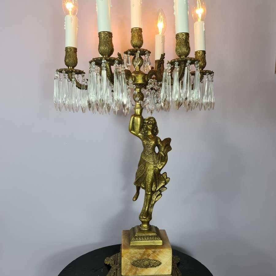 Tall Seven Branch Italian Candelabra Table Lamp c1930