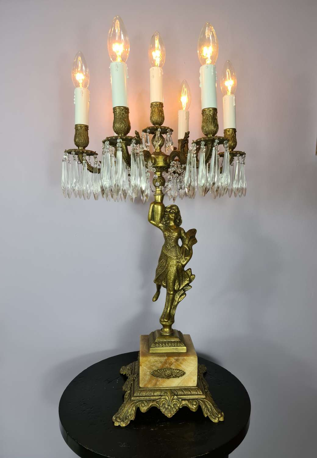 Tall Seven Branch Italian Candelabra Table Lamp c1930