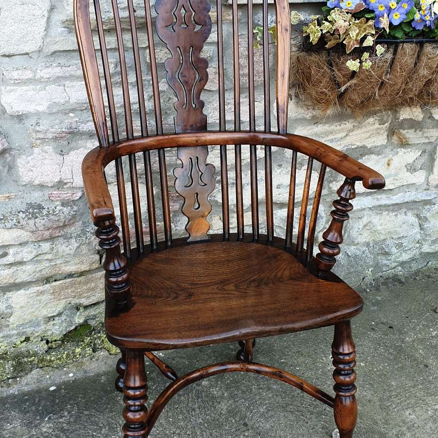 Fine Quality High Back Yew Wood Windsor Chair