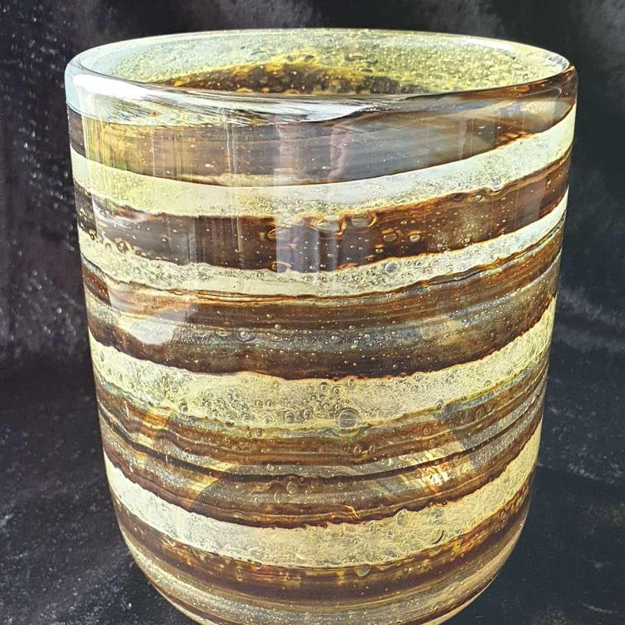 Isle of Wight Glass 'Tortoiseshell' cylinder Vase
