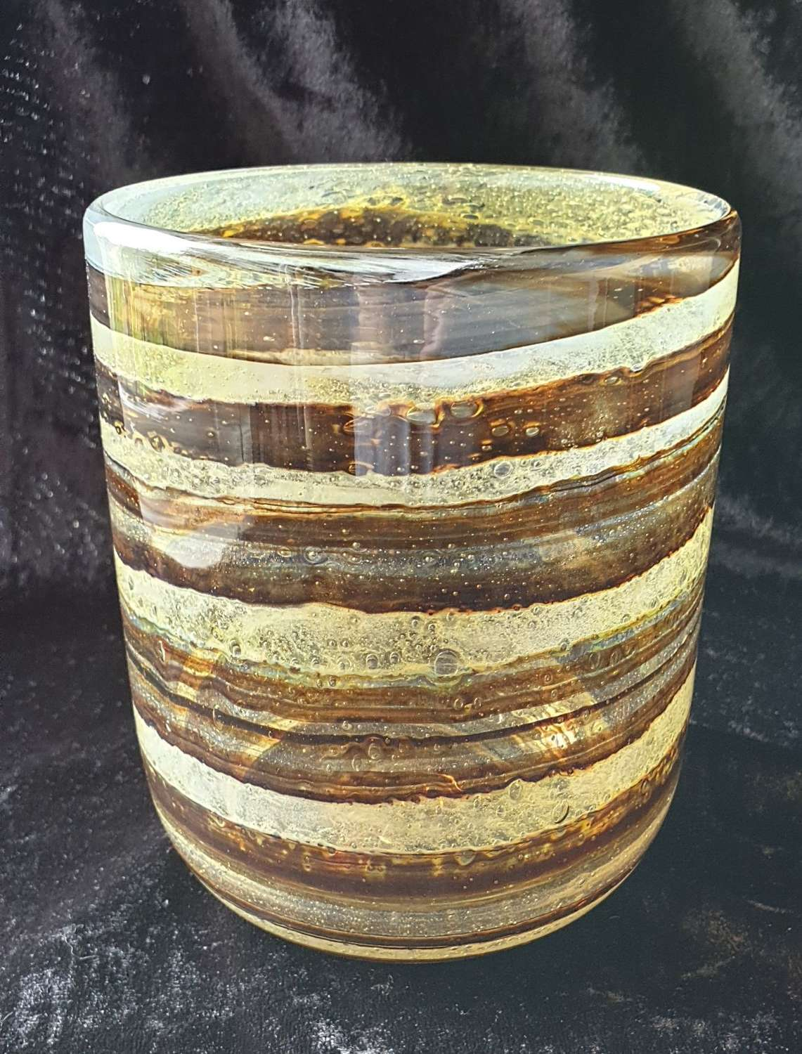 Isle of Wight Glass 'Tortoiseshell' cylinder Vase