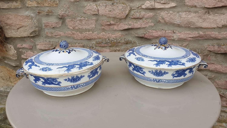 Pair of Booths 'Dragon' Pattern Ceramic Tureens