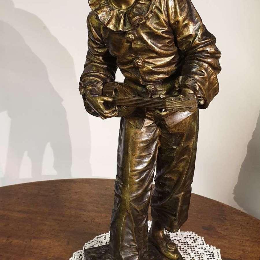 Bronze Sculpture of Pierrot singing Au Clare De La Lune c1890