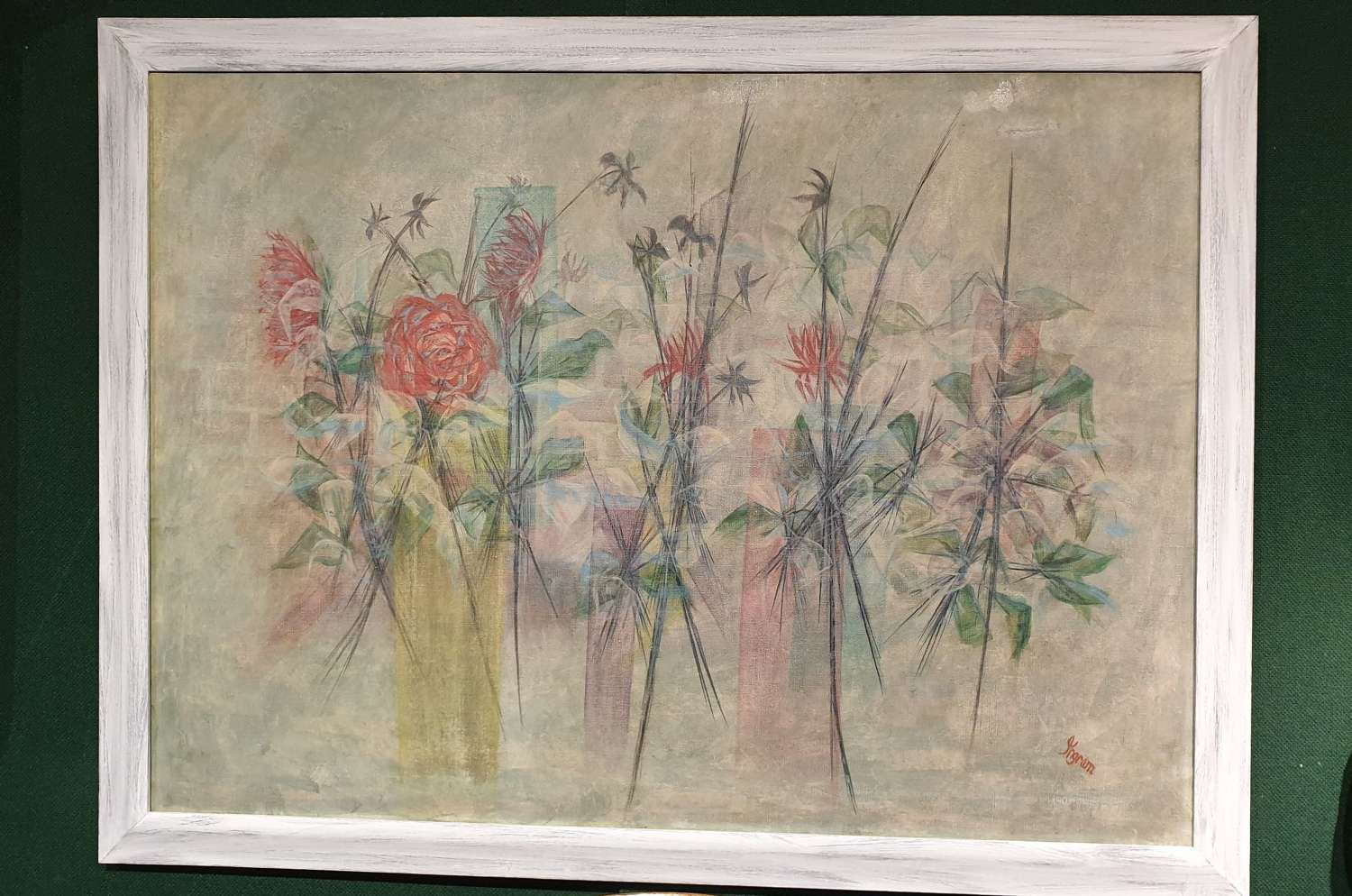 Beautiful Large Framed Painting on Canvas. c.1960.