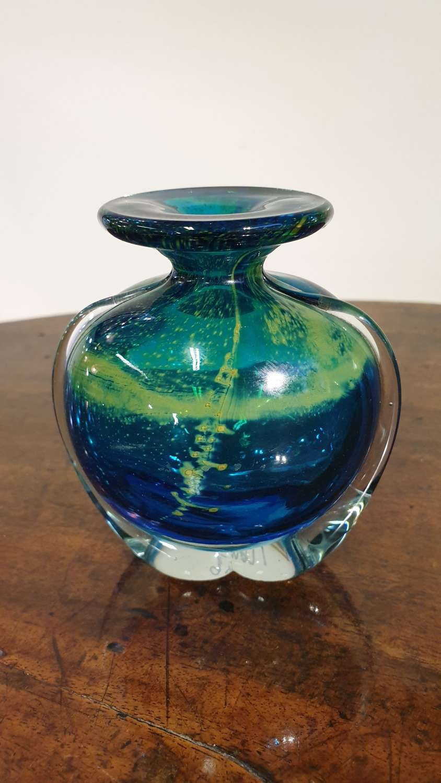 Small Mdina Glass 'Side Stripe' Vase
