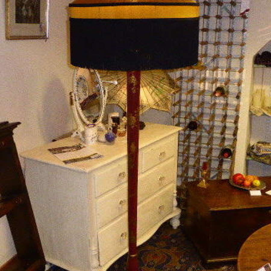 1930's Red Lacquered Standard Lamp with Handmade Shade