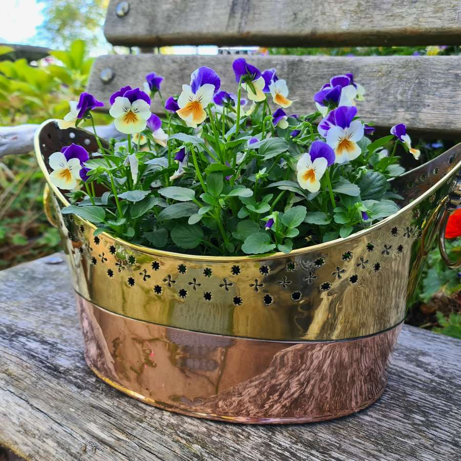 Early 19th Century Brass and Copper Flower Basket