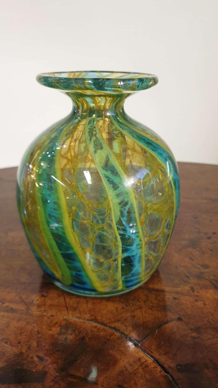 """Mdina Glass """"Crystal Blue Stripe"""" Vase"""