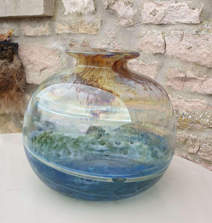 Large Isle of Wight Glass 'Aurene' Globe Vase