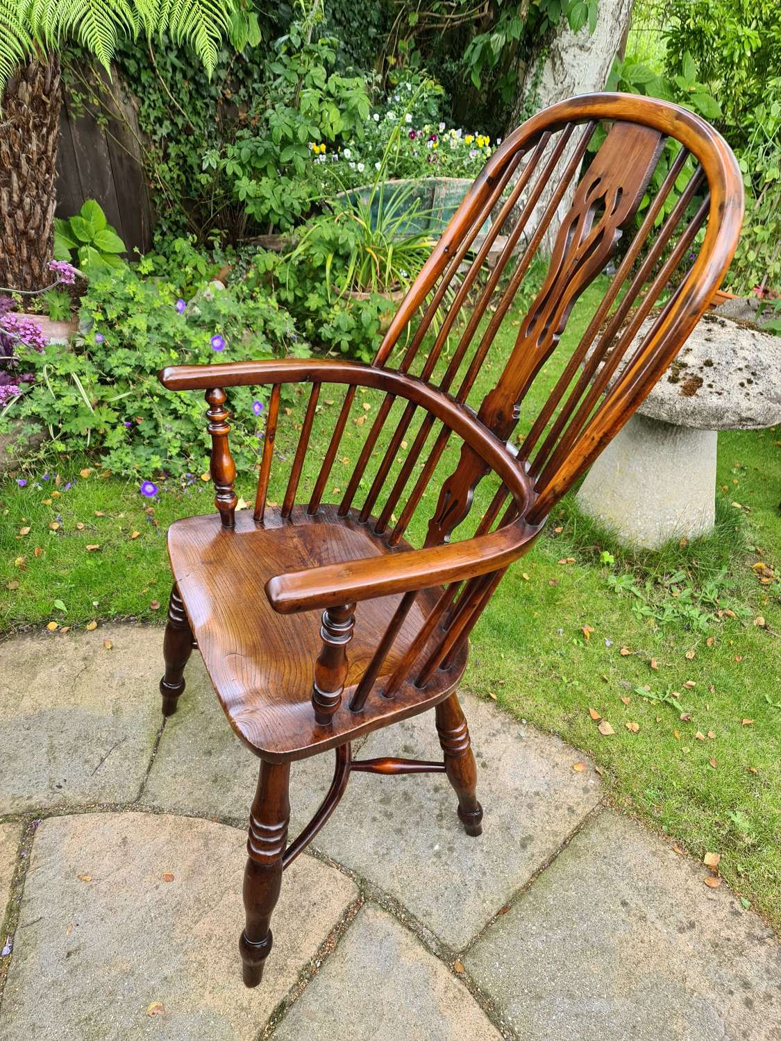 Wonderful Example of Handsome Yew High Back Windsor Chair