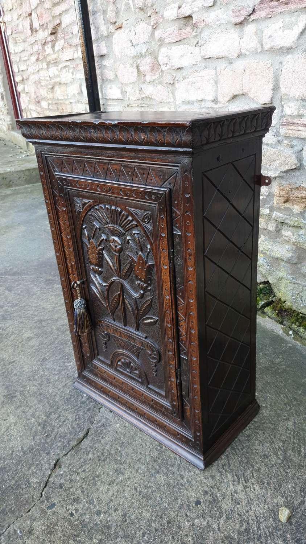 Carved Oak Wall Cupboard
