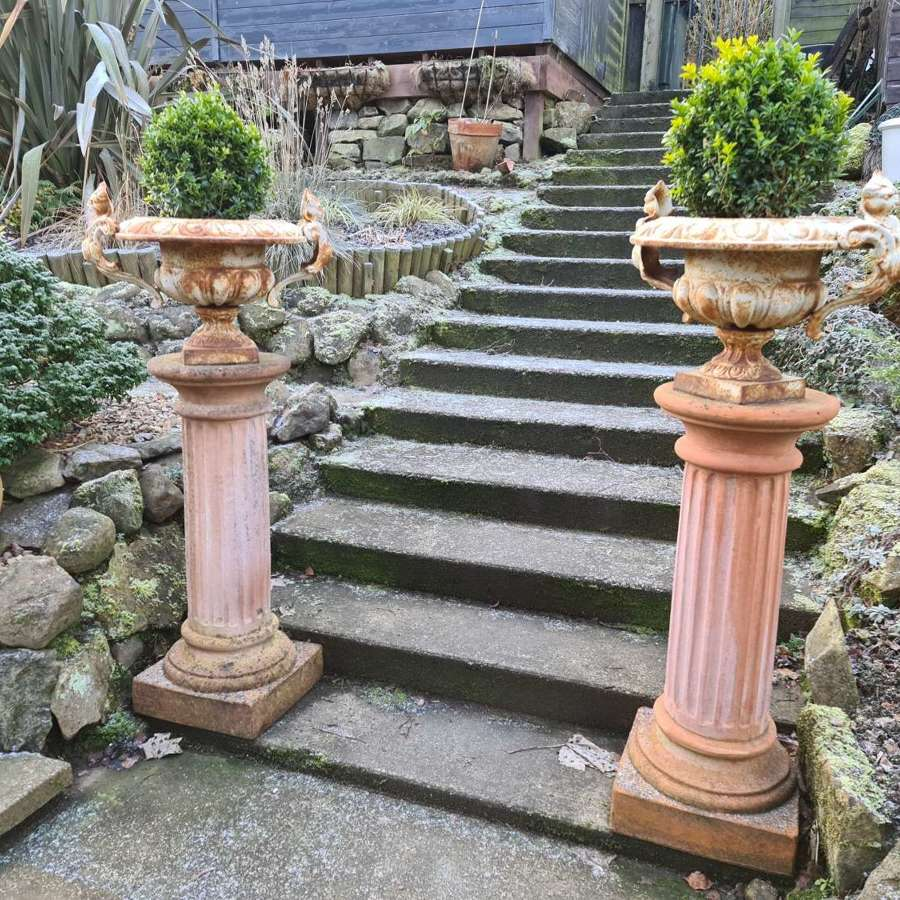 Large Pair of Tuscan Terracotta Corinthian Columns