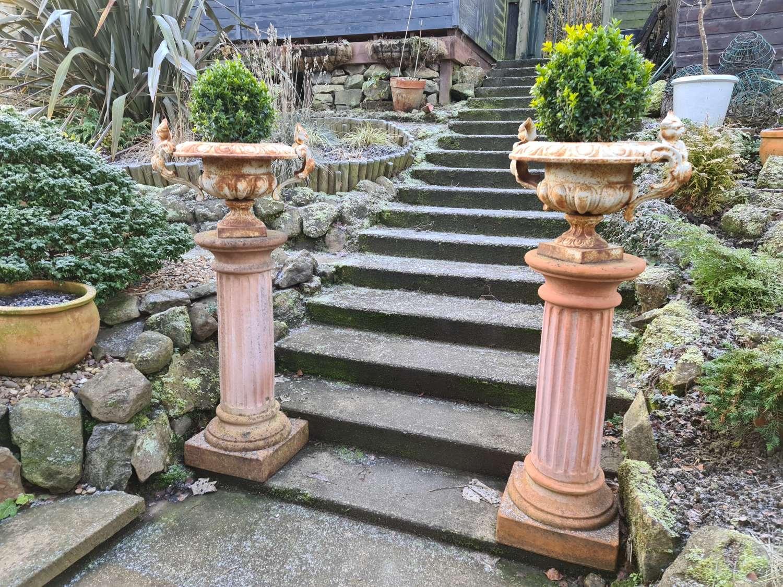 Large Pair of Tuscan Terracotta Corinthian Columns