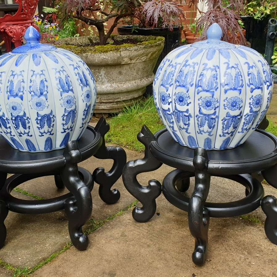 Pair of 20th Century Chinese Jardiniere or Stands with Ginger Jars