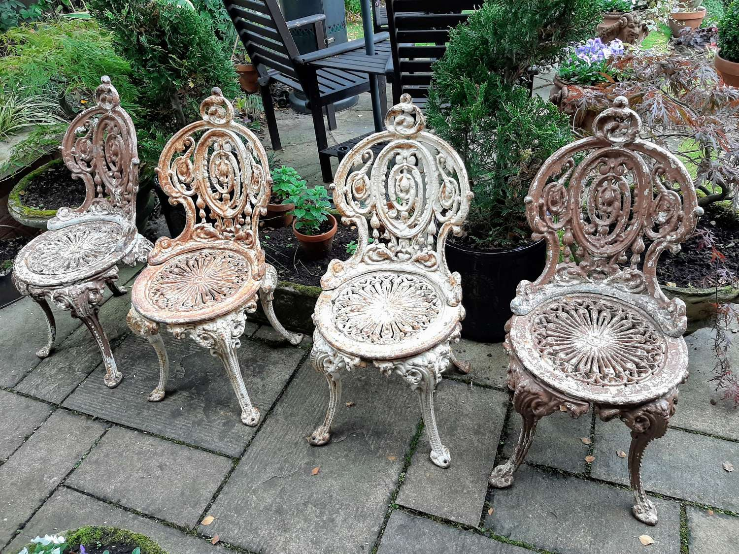 Set of Four 19th Century Cast-iron Garden Chairs