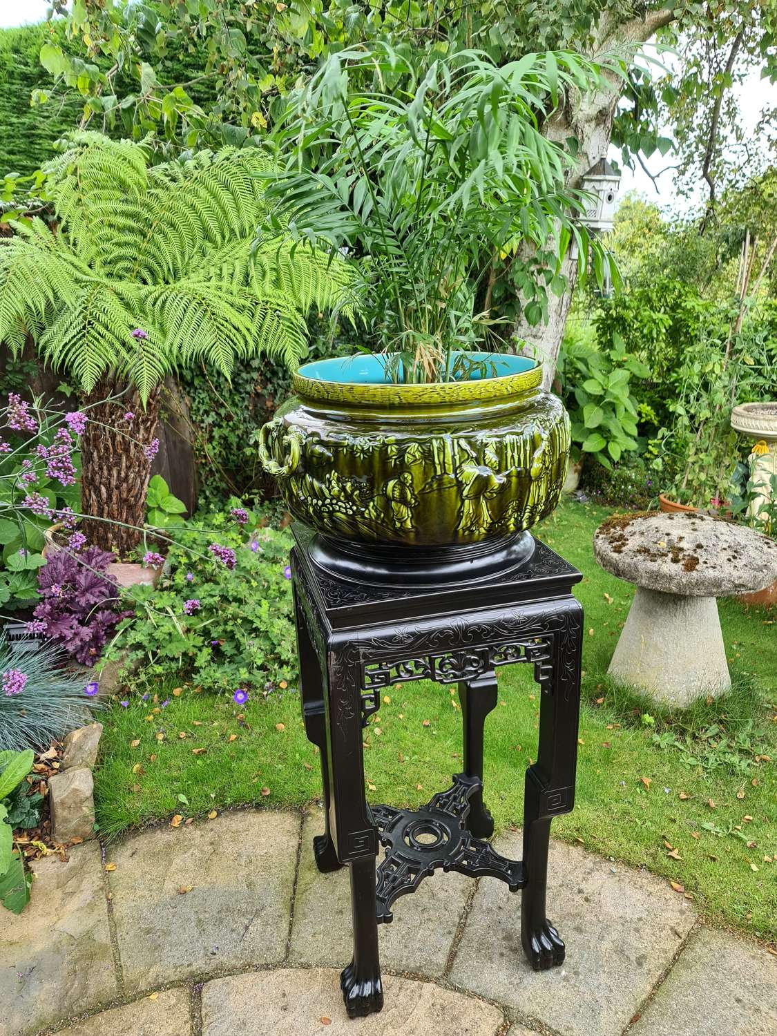 French Sarreguemines Majolica Jardiniere with Chinese Hardwood Stand