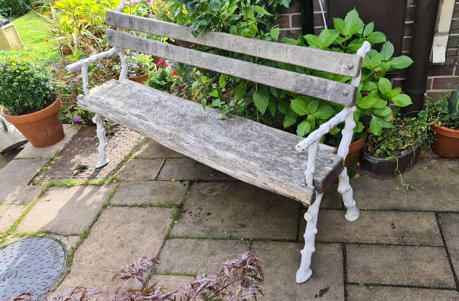 19th Century Cast-iron and Oak Garden Bench