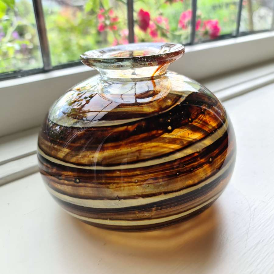 Isle of Wight Glass 'Tortoiseshell' Globe Vase c1973