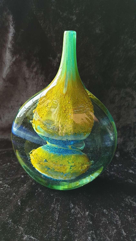 Mdina Glass Ice Cut 'Lollipop' Vase c1970's