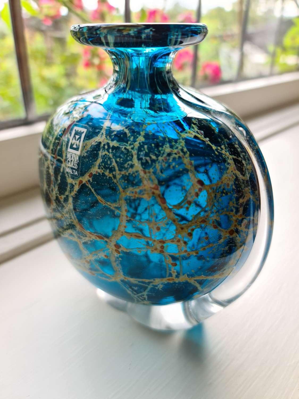 Mdina Glass 'Crystal Blue' Side Stripe Vase