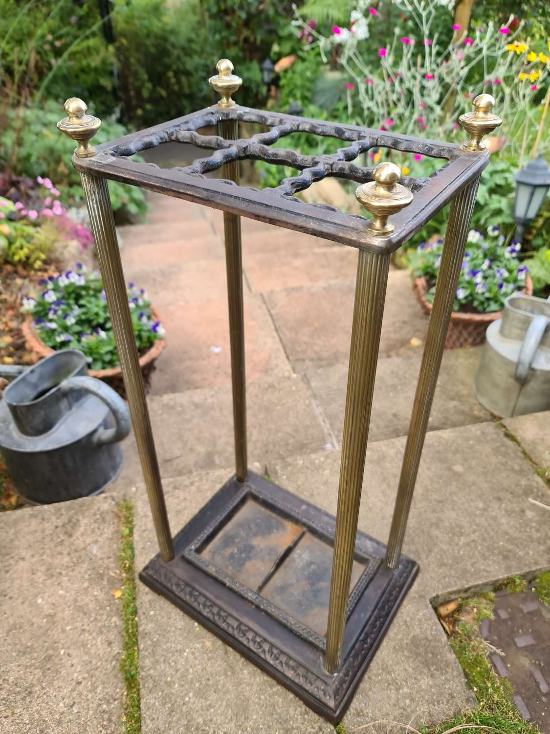 Early 19th Century Rectangular Cast-iron and Brass Stick Stand